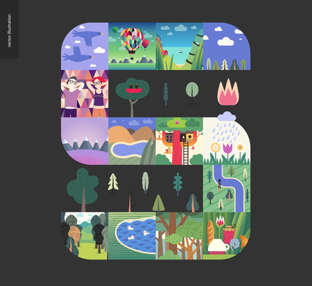 Simple things - forest set on black background - flat cartoon vector illustration of forest, ducks, river, trees, couple, birds, flowers, air balloon, tree house, seapiece, boat and lake - composition