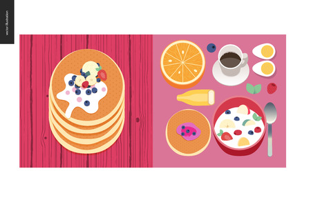 Simple things - meal - flat cartoon vector illustration of set of breakfast meal with coffee, fruits, eggs, pancakes and cereal, stack of pancakes with berries, toppings and cream - meal composition Illustration