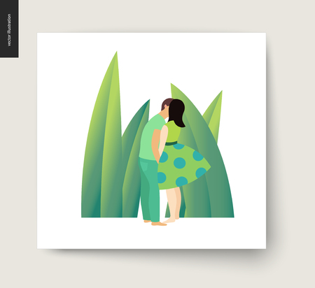 Kissing scene - flat cartoon vector illustration of young couple, boyfriend and girlfriend, kissing on beach, romantic scene with green leaves, grass on the background - postcard Illustration