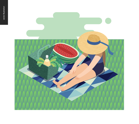 Picnic Image - flat cartoon vector illustration of girl sitting in the grass with a ribbon sun hat, picnic wicker basket, lemonade, blue abstract blanket, greenery salad, watermelon - summer postcard Vettoriali