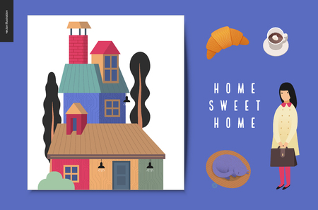 Simple things - postcards - flat cartoon vector illustration of set of countryside house, croissant, coffee, cream, sleeping cat, school girl with briefcase, Home Sweet Home lettering - cards set Illustration