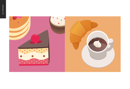 Simple things - meal - flat cartoon vector illustration of cake with cherry on top, stack of american pancakes with berries on top, cupcake, croissant and coffee with whipped cream - meal composition