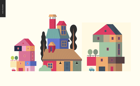Simple things - houses - flat cartoon vector illustration of colorful countryside house with terrace and trees on it, chimney, attic roof space, tall trees around, car and garage - houses composition Çizim