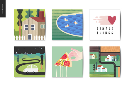 Simple things - cards - flat cartoon vector illustration of countryside house, lake with ducks, lettering, car, driveway, pizza slice, top view map, farm, fields, houses - summer postcards composition
