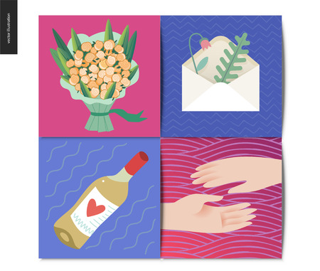 Simple things - postcards - flat cartoon vector illustration of set of bouquet of roses, present, two hands reaching for each other, white wine and an envelope with herbarium - cards set Illustration