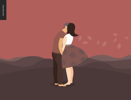 Kissing scene - flat cartoon vector illustration of young couple, boyfriend and girlfriend, kissing, romantic scene with red hills, leaves and mounains on the background, sunrise, sunset - composition