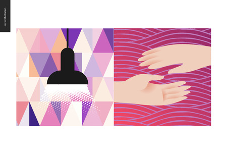 Simple things - color - flat cartoon vector illustration of two hands reaching for each other, a black lamp raying soft light with triangle pattern wallpaper on the background - colour composition