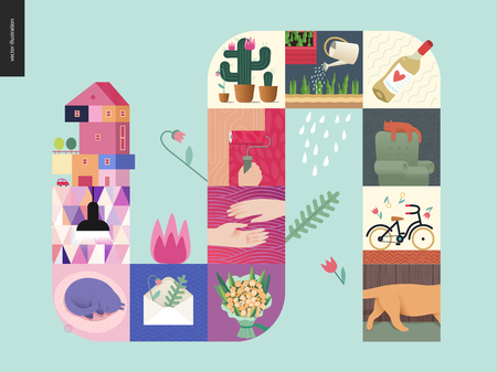Simple things - home - flat cartoon vector illustration of countryside house, black lamp, cat, herbarium, bouquet, two hands, wine, cactus, bicycle, chair, paint roller, garden - house black postcard