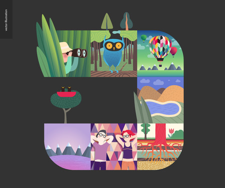 Simple things - forest set on a black background - flat cartoon vector illustration of hunter, grass, owl, woods, air balloons, lake, hills, tree roots, picnic date, landscape, mountains - composition