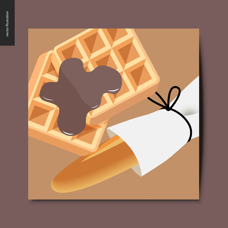 Simple things - baked goods - flat cartoon vector illustration of a wrapped french long loaf and backed belgian waffles topped with chocolate dressing, summer postcard Banque d'images - 104154947
