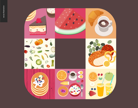 Simple things - meal - flat cartoon vector illustration of cake, watermelon, coffee with croissant, breakfast meal set, vegetables pattern, stack of pancakes, olives and meat - meal composition