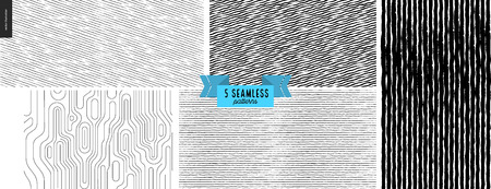 Set hand drawn black, white fabric pattern. Vector seamless pattern. Abstract background, brush strokes. Monochrome texture. Hipster graphic design. Endless vector, simple scratchy textures, stripes Illustration