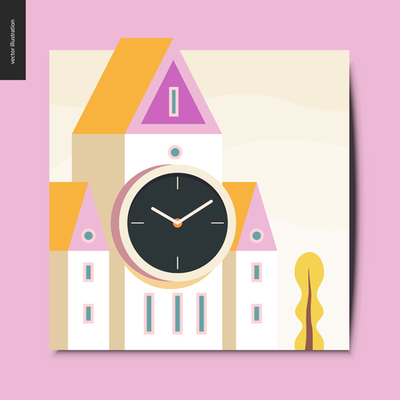 Simple things - white clock tower with pink and yellow triangle roof, postcard, vector illustration