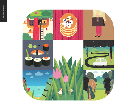 Simple things - color set - flat cartoon vector illustration of sushi rolls, treehouse, stack of pancakes, school girl, briefcase, car, hills, forest, tiny couple, seapiece, boat - colour composition