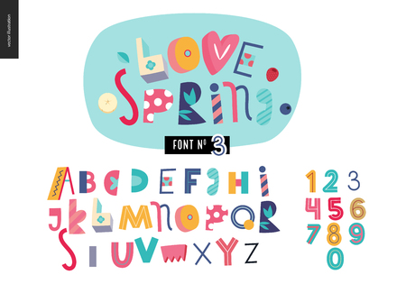 Kids flat alphabet set - Love spring latin font - letters and digits