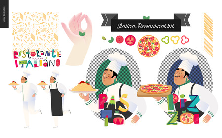 Italian restaurant set - branding, logo and menu constructor - kit of restaurant logo, cooks and waiters wearing the uniform holding a dish of pasta with red bolognese sauce and other italian food elements with thematic lettering, cartoon character