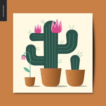 Simple things - blooming cacti and a flower growing in the flowerpots, postcard, vector illustration Illustration