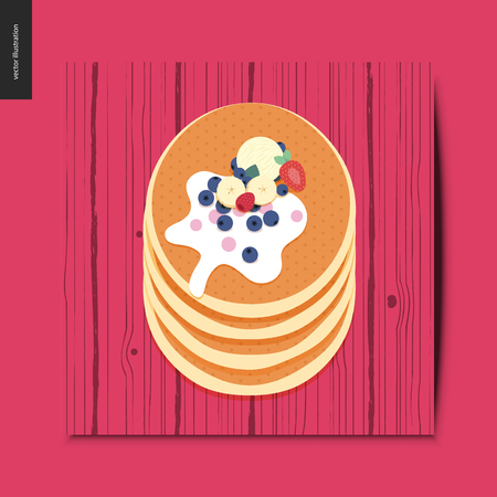 Simple things - stack of pancakes with berries, toppings and cream, on the wooden desk, postcard, vector illustration