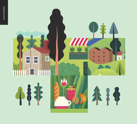 Simple things - houses - flat cartoon vector illustration of landscape, countryside house, tee meal, building, farm, trees, camp, jam, bakery, out of town, balcony with plants - houses composition