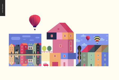 Simple things - houses - flat cartoon vector illustration of colourful countryside house with terrace and trees on it, neighbourhood, row of townhouses, canal bank, air balloons - houses composition Illustration