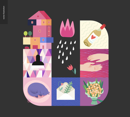 Simple things - home - flat cartoon vector illustration of countryside house, black lamp, sleeping cat, envelope with herbarium, bouquet, two hands, white wine, tulip and rain - house black postcard