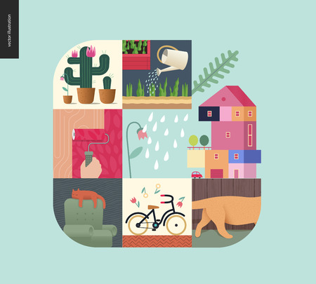 Simple things - home - flat cartoon vector illustration of countryside house, paint roller, sleeping cat, bicycle, gardening, cactus, kitten tail, tulips and rain - house mint postcard Illustration