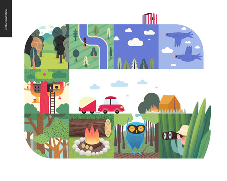 Simple things - forest set on a white background - flat cartoon vector illustration of birds, sky, clouds, top view camp with river, trees, forest, treehouse, woods, wood fire, owl, hunter -composition