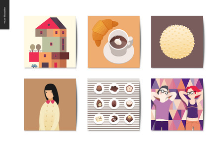 Simple things - cards - flat cartoon vector illustration of countryside house, croissant, coffee, white chocolate, chocolate sweets, school girl, picnic date, couple - summer postcards composition