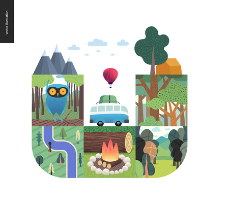 Simple things - forest set on a white background - flat cartoon vector illustration of owl in forest, top view, river, woods, fire wood, log, wildlife, landscape, camping, van and tent - composition Illustration