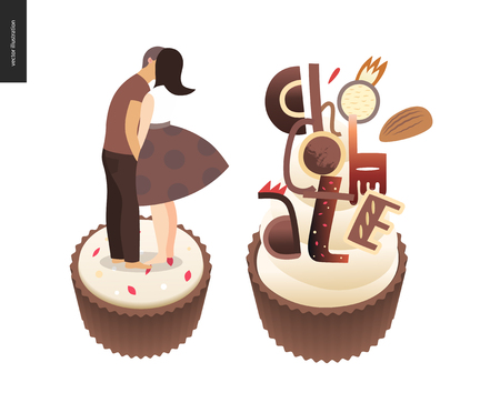 Kissing scene - flat cartoon vector illustration of young couple kissing on chocolate, romantic scene, white sweet cupcake, crisp bonbons, coffee and cacao, candy with Chocolate lettering - postcard