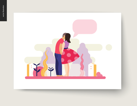 Kissing scene - flat cartoon vector illustration of young couple, boyfriend and girlfriend, kissing, romantic scene with trees, plants, leaves and houses on background, message bubble - composition