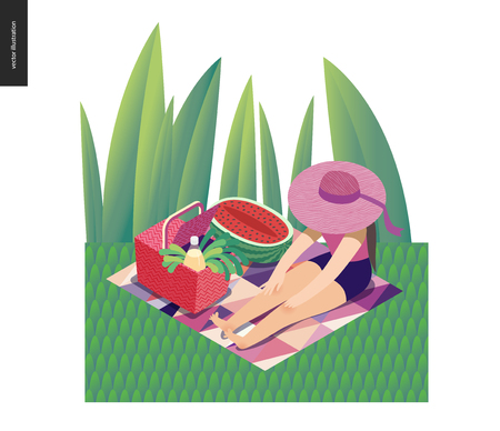 Picnic Image - flat cartoon vector illustration of girl sitting in the grass with a ribbon sun hat, picnic wicker basket, lemonade bottle, white wine, greenery salad, watermelon - summer postcard