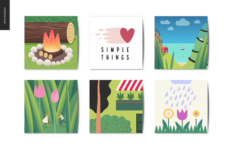 Simple things - cards - flat cartoon vector illustration of camp firewood, Simple Things lettering, house, sea view, boat, tiny couple, tulips, grass, flowers, terrace - summer postcards composition