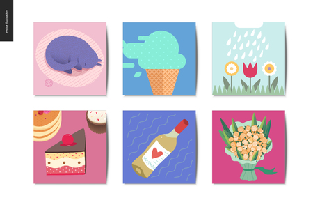 Simple things - cards - flat cartoon vector illustration of cat, ice cream, blooming flowers, rain, cake dessert, white wine and roses bouquet - summer postcards composition Standard-Bild - 102693885