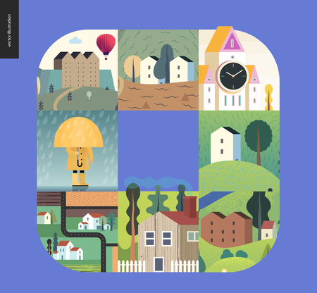 Simple things - houses - flat cartoon vector illustration of houses, countryside, tower clock, castle, farmland, kid, umbrella under rain, isolated house, neighbourhood, raincoat -houses composition Illustration