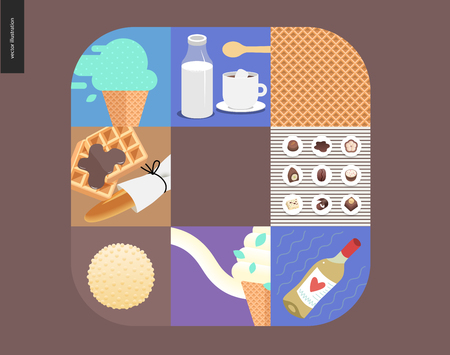 Simple things - meal - flat cartoon vector illustration of mint ice cream, coffee with milk, waffle pattern, waffles and loaf, white wine, chocolate candies, white chocolate - meal composition