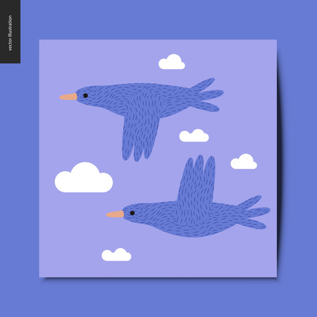 Simple things - two flying blue birds in the blue sky with clouds, summer postcard, vector illustration