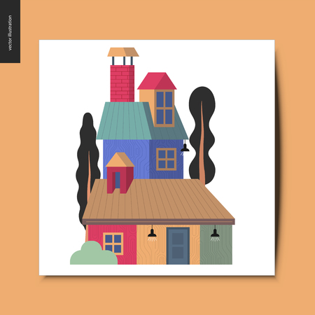 Simple things - house - flat cartoon vector illustration of a colorful countryside house with a chimney, attic roof space, and tall trees around it, and a car next to the garage, summer postcard