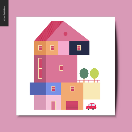 Simple things - house - flat cartoon vector illustration of a colorful countryside house with a terrace and trees on it, and a car next to the garage, summer postcard