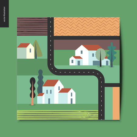 Simple things - top view, satellite shoot of a out-of-town street with detached country houses, trees, fields and plowed fields around, and asphalt black road, summer postcard, vector illustration