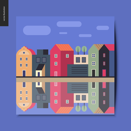 Simple things - a row of town houses standing along the canal bank with clouds in the blue sky above, and reflection of them in the canal water, summer postcard, vector illustration