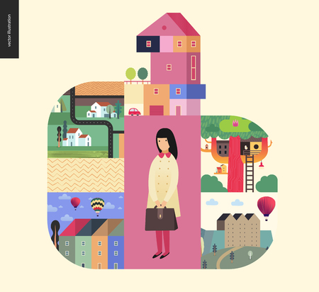 Simple things - houses - flat cartoon vector illustration of countryside house, isolated building, tower, treehouse, ladder, row of townhouses, farmland, school girl, briefcase - houses composition Vectores