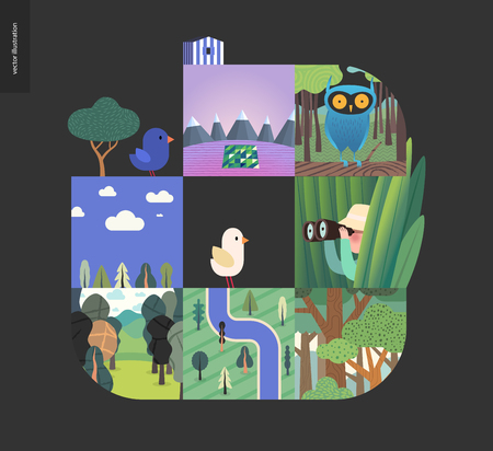 Simple things - forest set on a black background - flat cartoon vector illustration of owl in woods, forest, top view map, river, sk, clouds, bird, hunter in grass, mountains with snow -composition