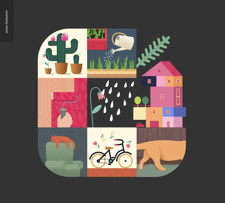 Simple things - home - flat cartoon vector illustration of countryside house, paint roller, sleeping cat, bicycle, gardening, cactus, kitten tail, tulips and rain - house black postcard Illustration