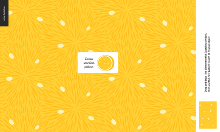 Food patterns, summer - fruit, lemon texture, small half of an lemon image in the center - a seamless pattern of the lemon sour pulp full of white seeds on the yellow background