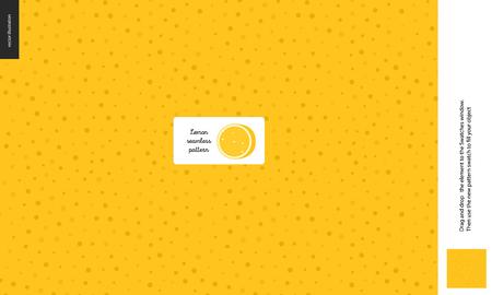 Food patterns, summer - fruit, lemon peel texture, tiny half of orange image in the center - a seamless pattern of the lemon rind with little holes, aril, peel, skin, healthy vitamin fruit Illustration