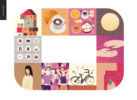 Simple things - color set - flat cartoon vector illustration of countryside house, breakfast, chocolate, two hands, couple, school girl, bicycle, coffee, paint roller, croissant - colour composition