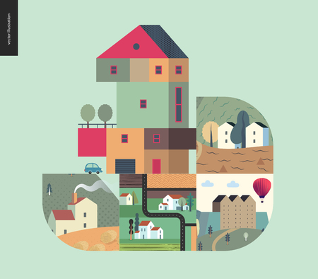 Simple things - houses - flat cartoon vector illustration of countryside house, isolated building, tower, treehouse with ladder, row of townhouses, top view map of farmland - houses composition
