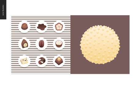 Simple things - meal - flat cartoon vector illustration of set of dark and white chocolate crisp bonbons and bars, chocolate chips, coffee and cacao beans and hot chocolate - meal composition