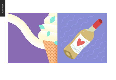 Simple things - meal - flat cartoon vector illustration of vanilla ice cream scoop in a waffle cone melting, mint leaves, purple background, white wine alcohol bottle, little heart - meal composition Stock Photo
